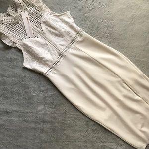 NWT Morning Mist White Lace Ruffle Midi Dress